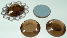 110171 Glas plaksteen bruin rond facet geslepen 20mm