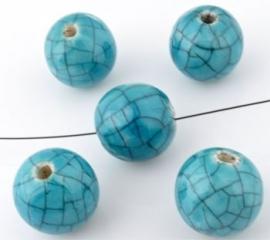070042 Keramiek kralen rond met gebarsten effect ± 19mm (Blauw)