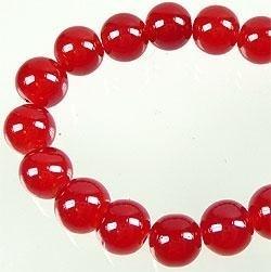110272 Glaskralen rond met mooie glans ± 12mm (Rood) 10 stuks