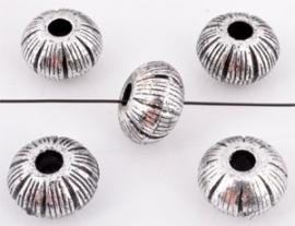 190049 10 stuks Kunststof kralen metal look Pandora style rondel bewerkt ± 13x8mm (gat ± 4mm) (