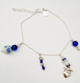 enkelbandje keramiek blauw/wit artnr. 210264