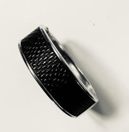 Klemarmband  zwart met zilver
