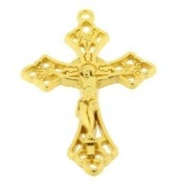 091023 Hanger Crucifix - Kruis voor Rozenkrans 47x29mm (Goudkleur)