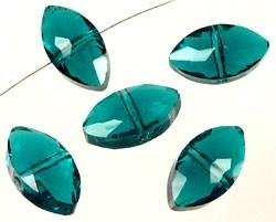 110288 Glaskralen kristal facet geslepen plat ovaal ± 16x9x7mm (Blue Zirkon)