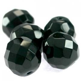 020092 DQ Ronde 6 mm facet kraal zwart 50 stuks in zakje