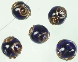 110347 Glas Italian-style rondel met goudkleurige versiering 15x13mm (Donkerblauw)