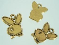 090309 Hanger  konijn (bunny) goud  22x18mm