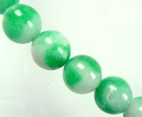 030030 Natuursteen groen/wit rond 8mm