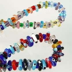 110165 Mix glas rondel multicolor ± 4-8mm =/- 550 stuks