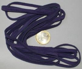 Paars suede lederen veter 5 mm AA kwaliteit (per meter)