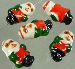 070036 Porseleinen kralen kerstman versierd ± 24x14mm (Rood/Wit/Zwart)
