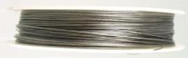 090736 Staaldraad met coating 0,5mm (Nikkelkleur) 100 meter op een rol