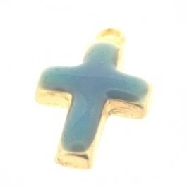 090678 Bedel Kruisje met epoxy 23x15mm (goud+turquoise)