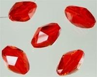 110172 Glas licht siam rood kristal ovaal facet geslepen met mooie glans 15x10mm