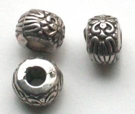 190144 Kraal oud zilver met franse lelie, metal look.