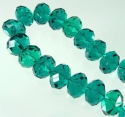 110251 Glas kristal rondel facet geslepen met mooie glans 12x8mm (Blue Zirkon)
