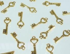 090341 Hanger sleutel goudkleur 20 x 7 mm