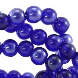 110345 Glaskralen high shine 8 mm rond (Cobalt Blauw) 50 stuks