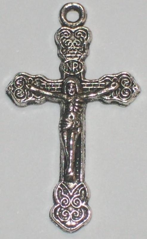 090295 Kruis Jezus Antiek zilver (Nickel vrij) 34mmx20mm