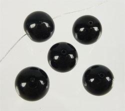 110236 Zwarte Glaskralen rond ± 6mm  (50 stuks)