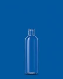 200 ml Glasheldere PET fles (rond + zwarte klepdop)