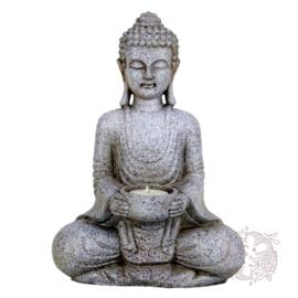 Boeddha met Theelicht Houder - Steen Grijs