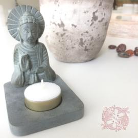 Boeddha met Theelicht Houder van puur Zeepsteen
