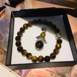 Feng Shui Armband + Hanger AARDE (Tijgeroog, Kua 2, 5, 8) met Boeddha