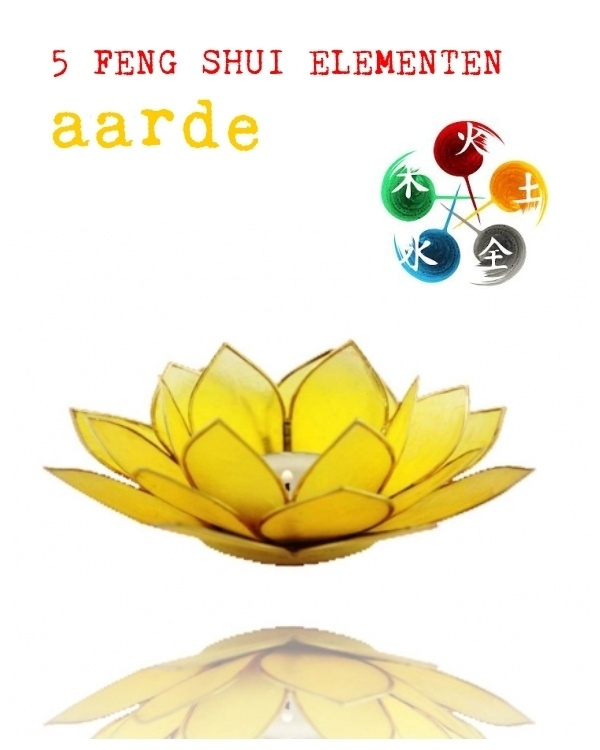 Feng Shui Kaarsen.Lotus Bloem Sfeerlicht Element Aarde Geel Goudkl Randen