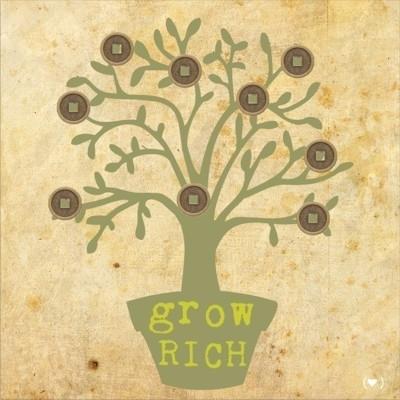 Feng Shui Canvas `Grow Rich` Wealth Tree (40 x 40 cm)