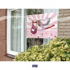 raamvlag  vlag met zuignapjes babyooievaar girl