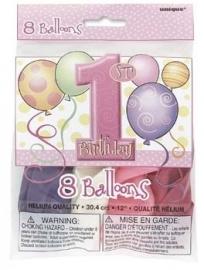 1st birthday ballonnen  serie baloons meisje