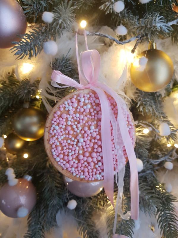 Roze Hanger beschuit met muisjes mini