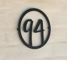 Huisnummer Rond Sierlijk Zwart RVS