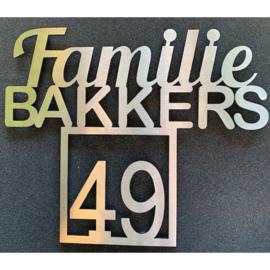 Naambord Familie Achternaam Met Huisnummer Vierkant RVS