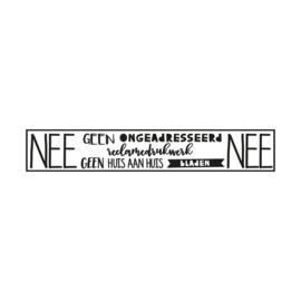 Brievenbus sticker NEE/NEE