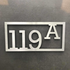 Huisnummer Rechthoekig Strak RVS