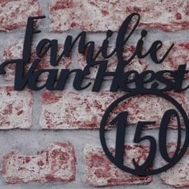 Naambord Familie Achternaam met huisnummer 3 cijfers Zwart RVS