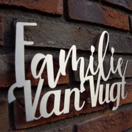 Naambord Familie Achternaam RVS