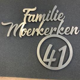 Naambord Familie Achternaam Met Huisnummer in cirkel RVS