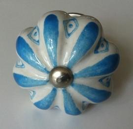 Knop geschulpt blauw/wit