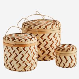 Set 3 bamboe manden naturel-bruin Madam Stoltz