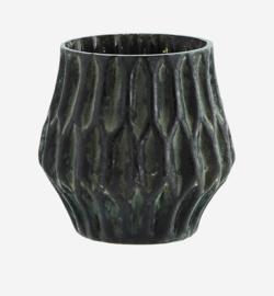 Vaasje glas S groen-zwart Madam Stoltz