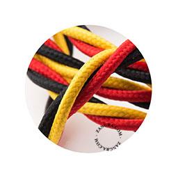 Textielsnoer gedraaid rood/geel/zwart 3 polig