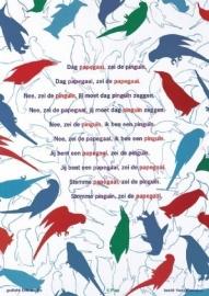 "Poster 42x30 ""De pinguïn en de papagaai"""
