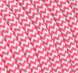 Textielsnoer roze-wit zebra