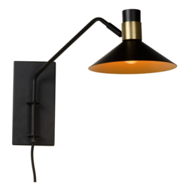 Wandlamp zwart/messing