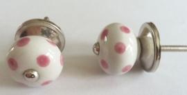 Knop mini roze stip