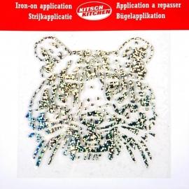 Opstrijkapplicatie Tijger glitter