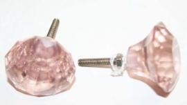 Knop glas l. roze